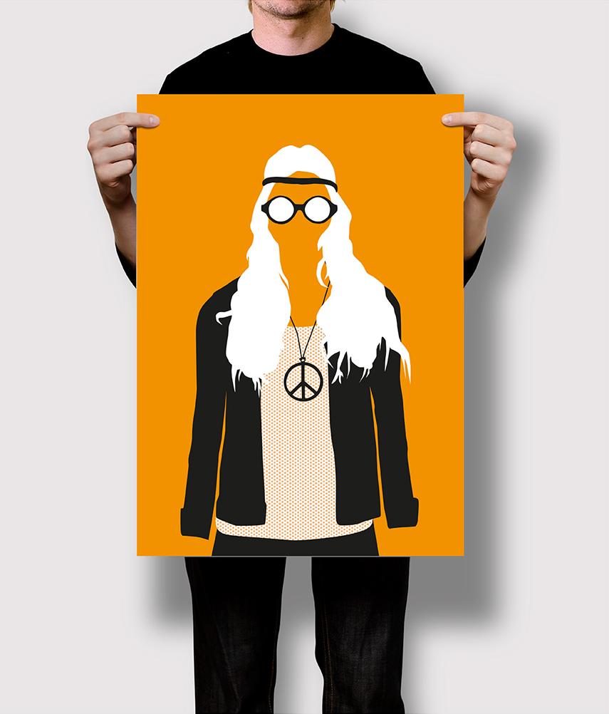 Flat Design Stereotyp Hippie