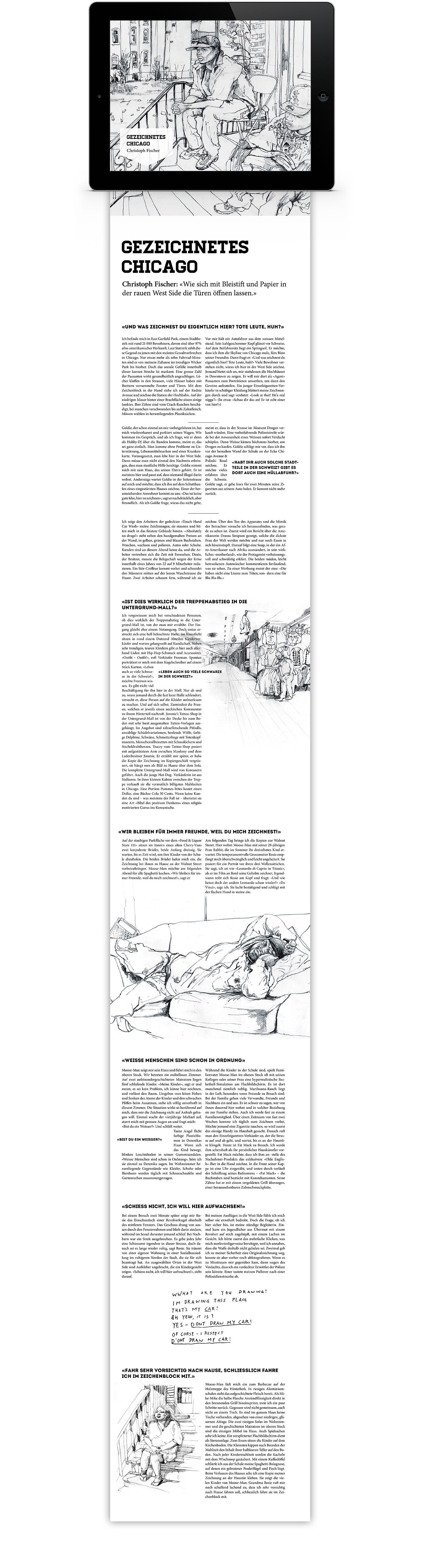 Layout interaktives iPad Magazin Reportage Chicago | Grafik Design Freelancer Berlin