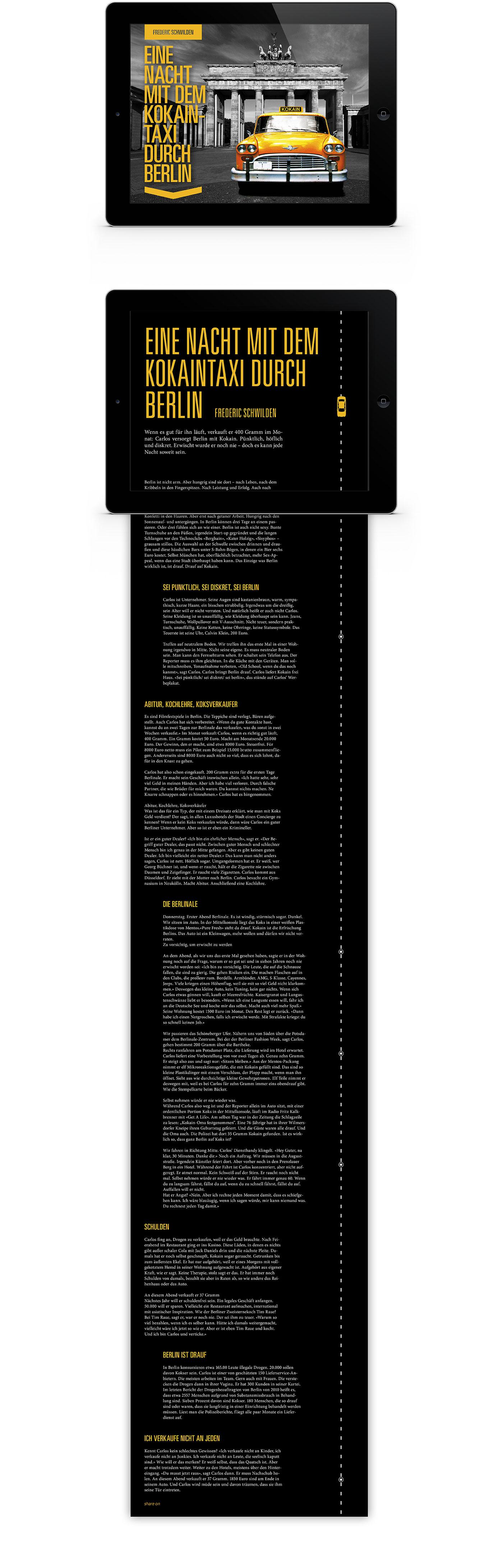 Layout interaktives iPad Magazin Reportage Taxi Berlin | Grafik Design Freelancer Berlin