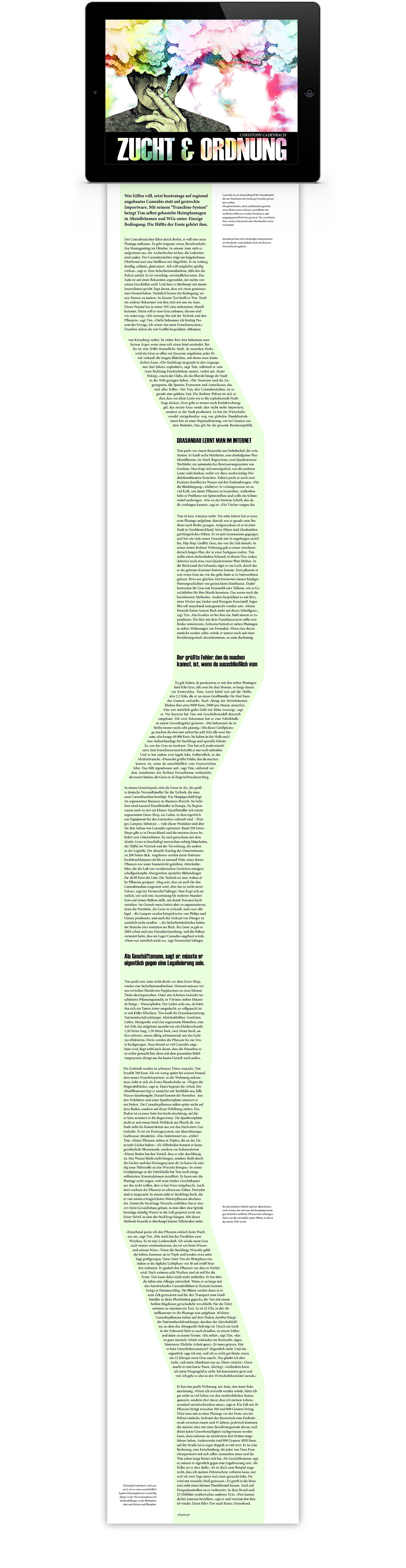 Layout interaktives iPad Magazin Reportage Taxi Canabis | Grafik Design Freelancer Berlin