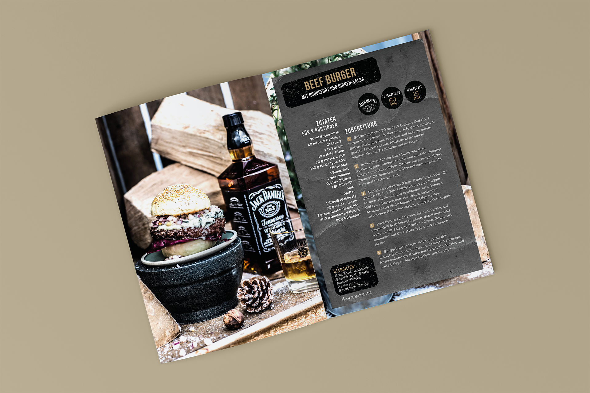 Layout Broschüre Jack Daniels Burger | Grafik Design Freelancer Berlin