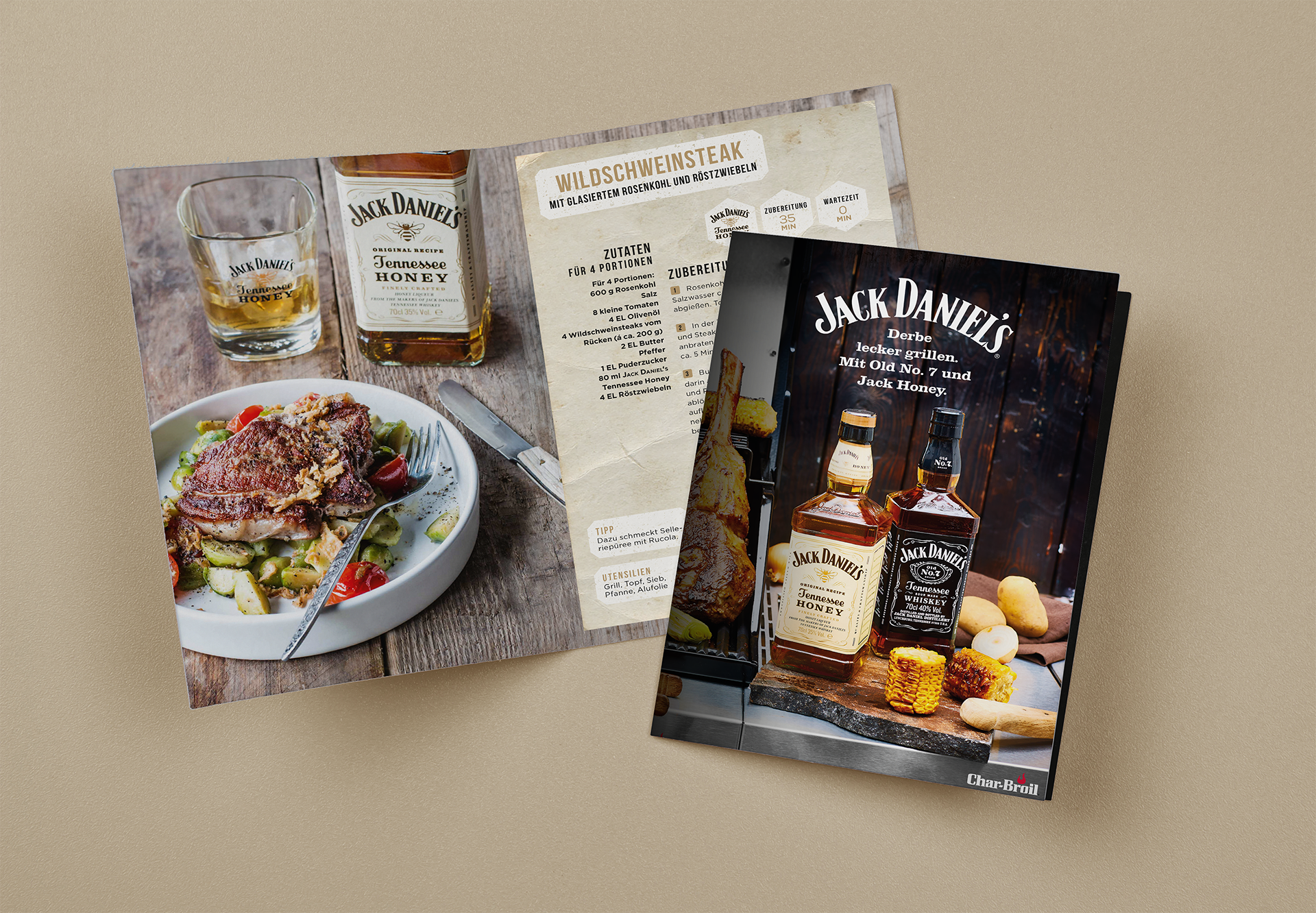 Layout Rezeptbroschüre Jack Daniels Steak | Grafik Design Freelancer Berlin