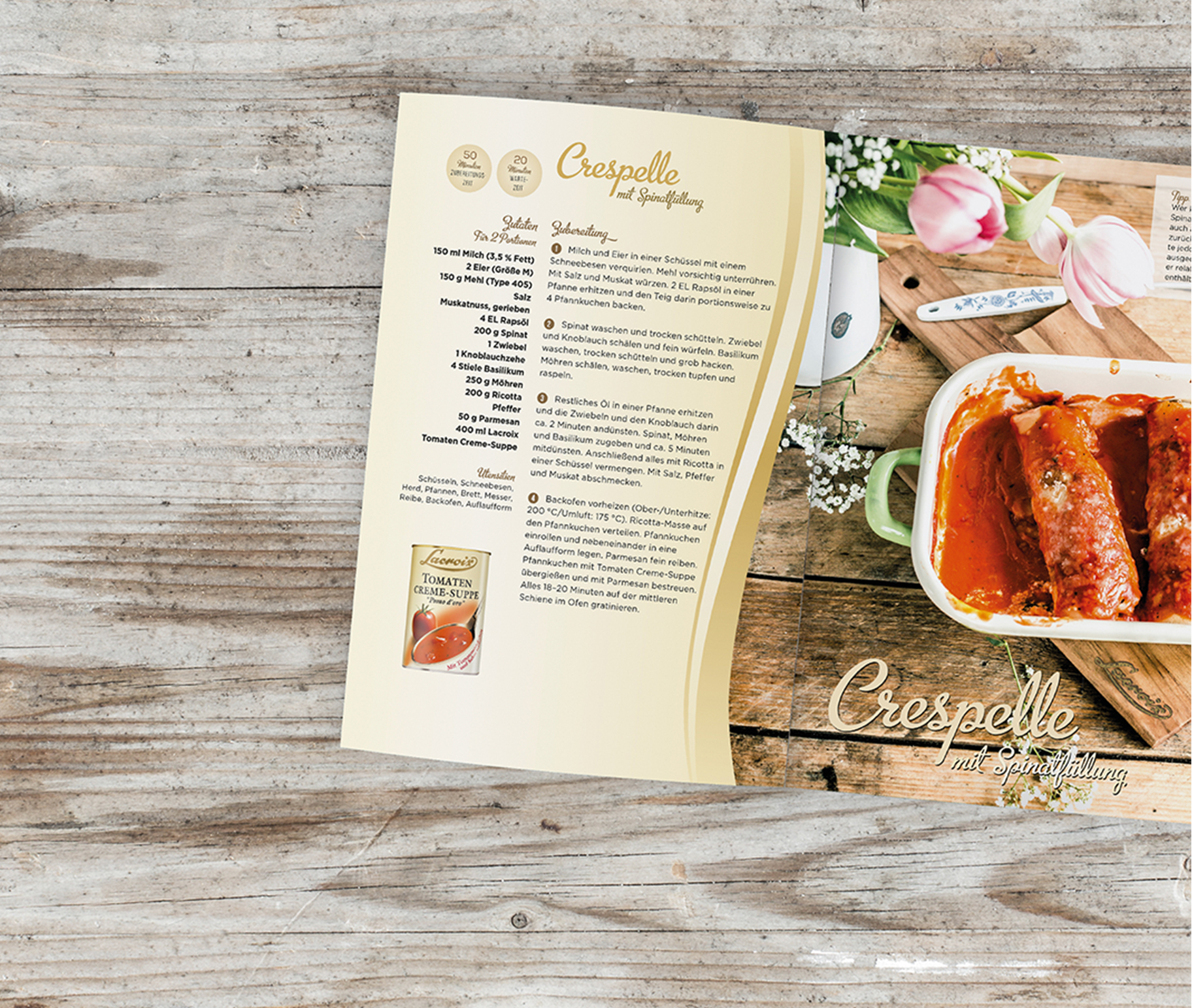 Layout Broschüre Lacroix Crespelle Rezept | Grafik Design Freelancer Berlin