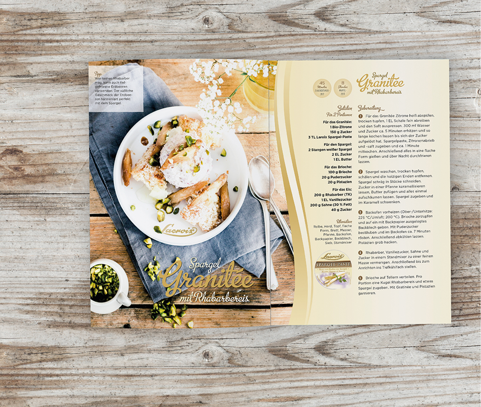 Layout Broschüre Lacroix Gratinee Rezept | Grafik Design Freelancer Berlin