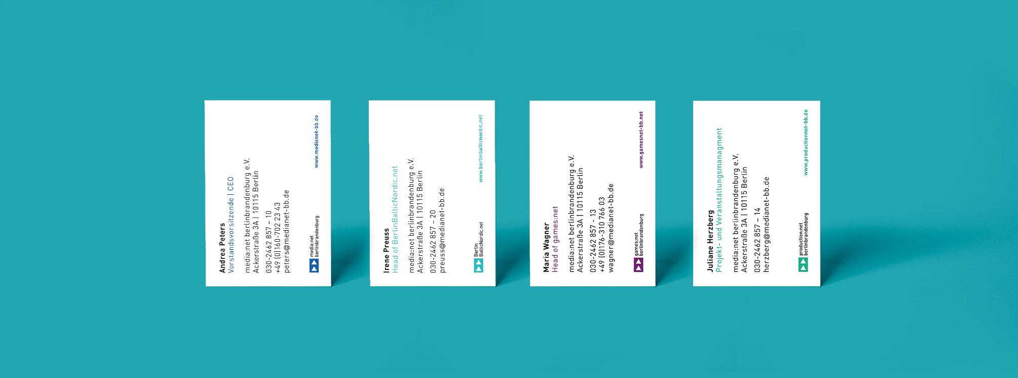 Visitenkarten Redesign CI media net berlinbrandenburg und Initiativen