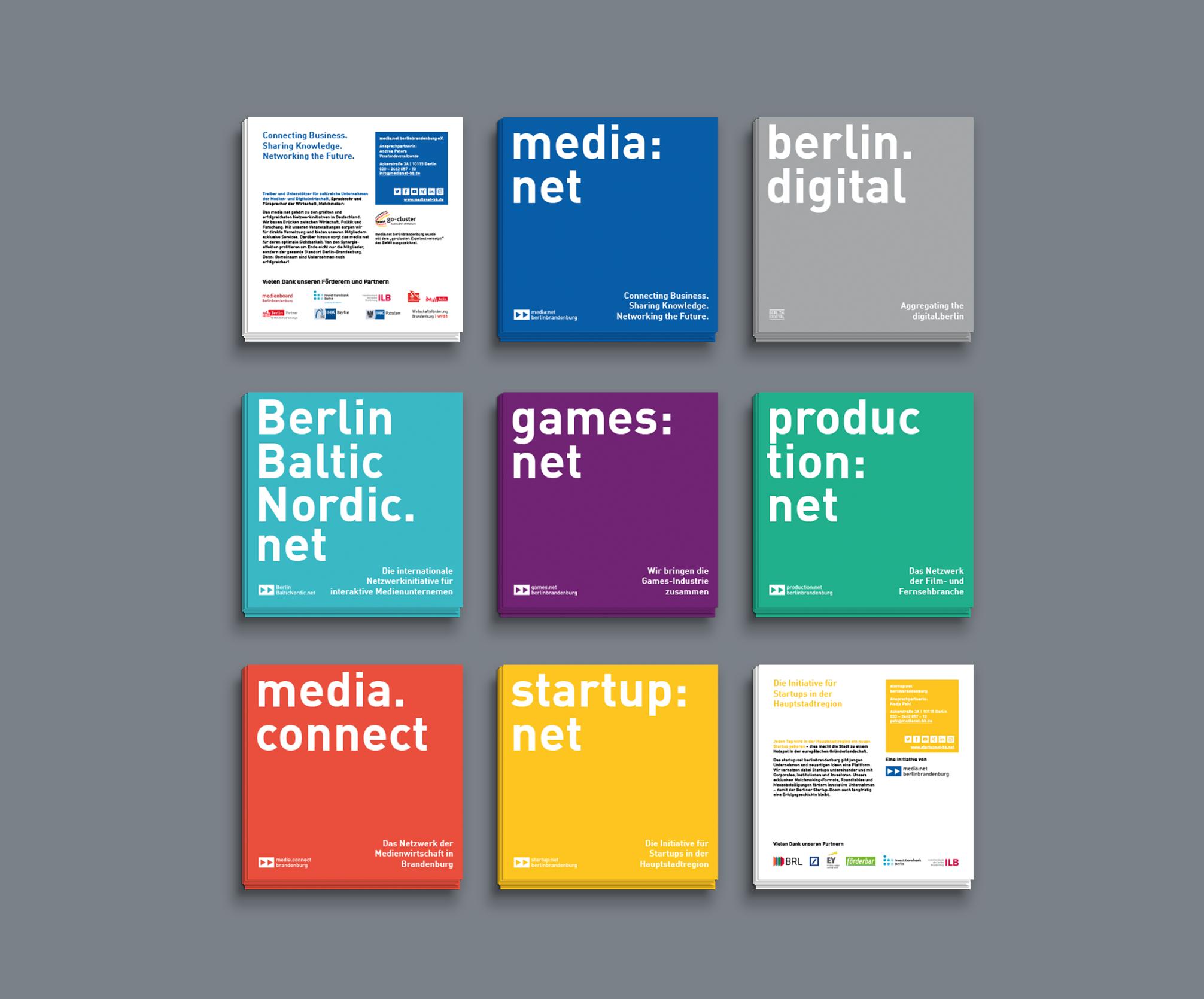 Zweiseitige Flyer media net berlinbrandenburg und Initiativen - Corporate Identity Redesign