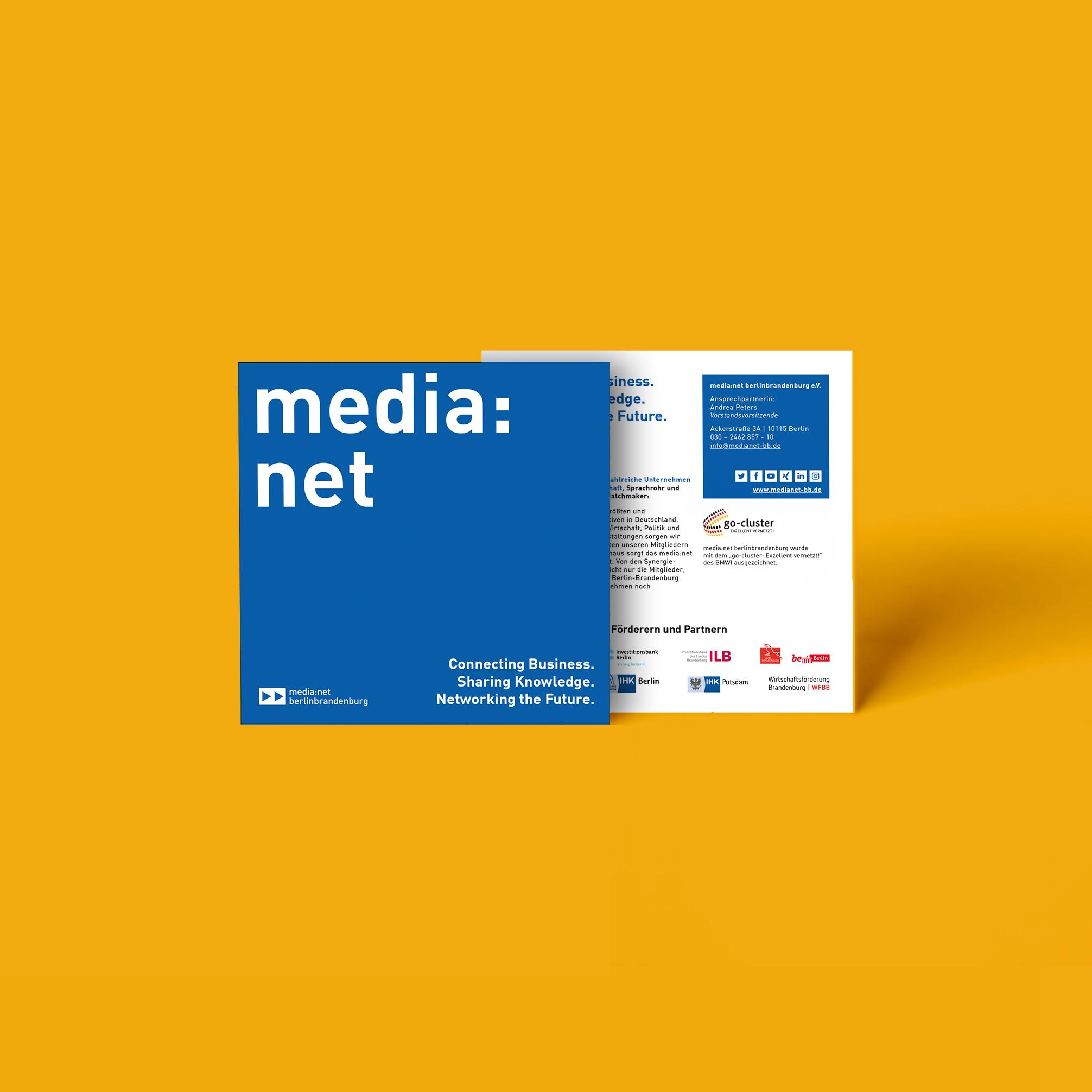 Media net berlinbrandenburg Flyer Redesign und Layout | zweiseitig