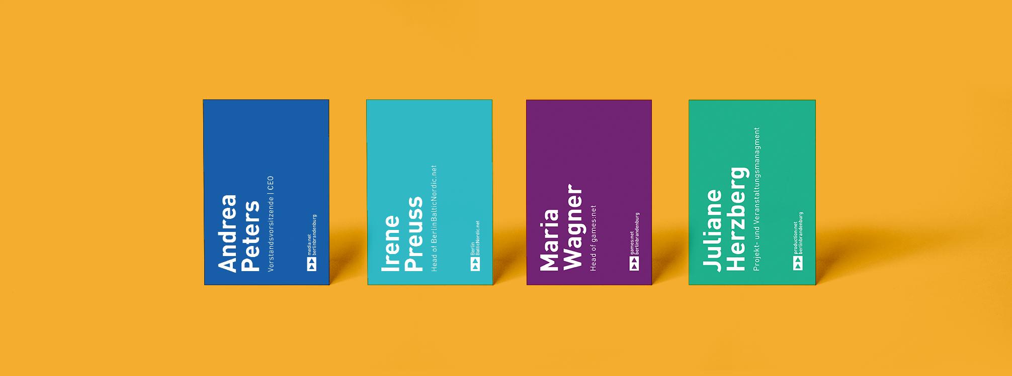 Visitenkarten Redesign - Corporate Design media net berlinbrandenburg und Initiativen