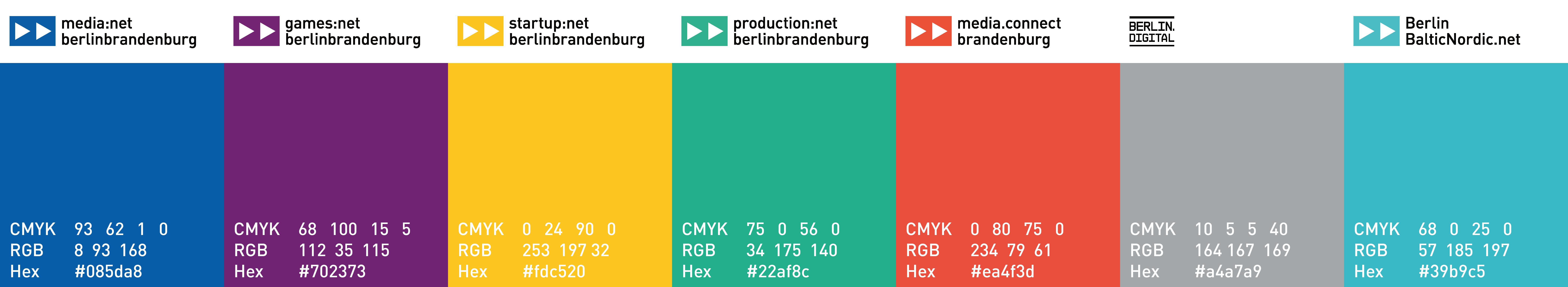 Redesign CI Farben media net berlinbrandenburg und Initiativen - Corporate Identity